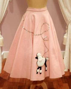 Vintage Pink Felt Full Circle Skirt Black White Poodle Applique with Silver Sequin Lead (M), Vintage Skirts, Web Shop, Mela Mela Vintage~ Chanel lipstick Giveaway Vintage Outfits, Vintage 1950s Dresses, Vintage Skirt, 50s Outfits, Vintage Clothing, 1950s Style, 1950s Poodle Skirt, Poodle Skirts, Poodle Skirt Costume