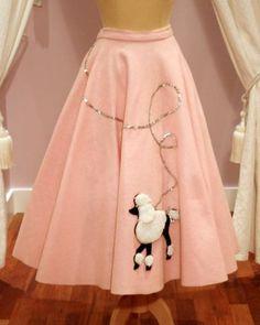 1950s Vintage Pink Felt Full Circle Skirt Black & White Poodle Applique with Silver Sequin Lead (M), Vintage Skirts, Web Shop, £275.00, Mela Mela Vintage