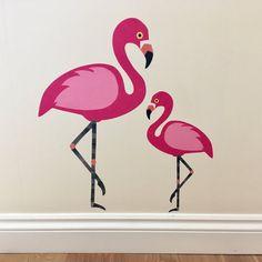 Pink flamingo decal pink flamingo wall by ChameleonWallArt