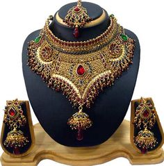 Maroon, Green and White Kundan Studded Bridal Necklace Set Online Shopping: JVM234