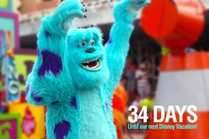 """34 Days until our next Disney Vacation!  We are counting the days to our next Disney trip with our favorite pics taken at the parks. This photo is of Sulley walking in the Toy Story parade in Hollywood Studios. Let us know if you """"Like""""."""