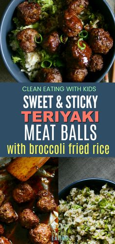 & Sticky Teriyaki Meatballs with Broccoli Fried Rice OMG! Clean Eating Sweet and Sticky Teriyaki Meatballs with Broccoli Fried RiceOMG! Clean Eating Sweet and Sticky Teriyaki Meatballs with Broccoli Fried Rice Clean Eating Recipes For Dinner, Paleo Dinner, Clean Recipes, Healthy Dinner Recipes, Beef Recipes, Real Food Recipes, Cooking Recipes, Meatball Recipes, Eating Clean