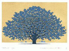 Treescene 136, 2009 by Hajime Namiki (1947 - ); Japanese woodblock print......................... ukiyoe japan decoration antique fineart home decor collectible japanese woodblock print handmade home art beautiful decorative etching illustration traditional woodcut