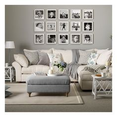 Grey living room with black and white photo gallery Grey living room... ❤ liked on Polyvore featuring room