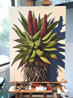 My new Aloe painting-Carin Vaughn-Girl With A Surfboard – From Parts Unknown Plant Painting, Diy Painting, Watercolor Paintings, Cactus Painting, South African Art, Cactus Art, Abstract Canvas Art, Art Abstrait, Mural Art