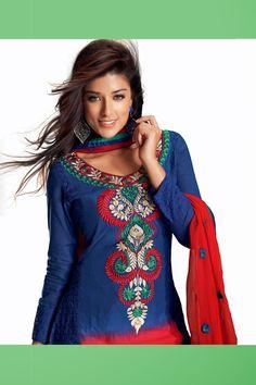 Fascinating Navy Blue Cotton Salwar Kameez-JKSK5586