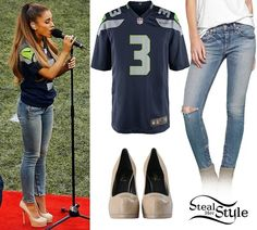 Ariana Grande performing the National Anthem at the Seattle Seahawks game. September 2nd, 2014