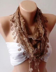 Caramel  Brown  Shawl / Scarf with Lacy Edge by womann on Etsy, $16.00