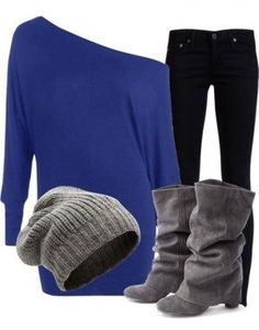 royal blue, gray hat, gray boots Love this NEED to find me some like this!