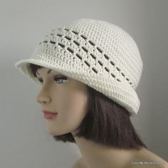 Summer Cloche Womens Crochet Hat Flapper Hat by patcreates