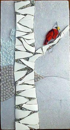 bird on a tree mosaic Mosaic Tile Art, Mosaic Artwork, Pebble Mosaic, Mosaic Crafts, Mosaic Projects, Mosaic Mirrors, Mosaic Ideas, Mosaic Animals, Mosaic Birds