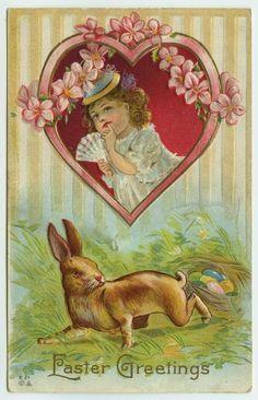 Easter E. Nash Rabbit in Grass Nest of Colored Eggs Girl Holding Fan in Heart #Easter