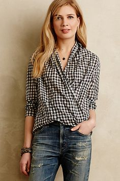 WITH WOOLEN BLACK TROUSERS = PERFECT WORK LOOK Draped Gingham Buttondown #anthropologie
