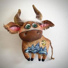 Paper Mache, Taurus, Quilling, Art Dolls, Cow, Moose Art, Projects To Try, Christmas Ornaments, Holiday Decor