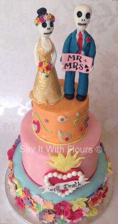 Día de los Muertos cake.  Day of the dead wedding  cake.