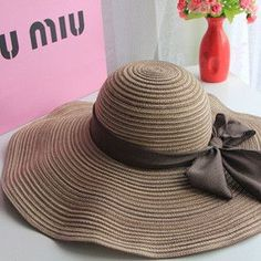02c5cb9af64 Hot Fashion Large Brim Hat w Ribbon Bow 2 Colors Visor Hats