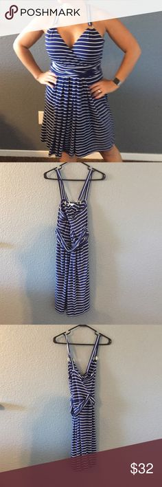 Calvin Klein blue and white dress Great condition Calvin Klein Dresses Midi