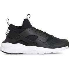NIKE Air huarache run ultra neoprene and mesh trainers (€120) ❤ liked on Polyvore featuring shoes, black white, round toe shoes, fleece-lined shoes, nike, round cap and lace up shoes