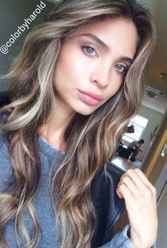 ash blonde highlights on brown hair - beautiful