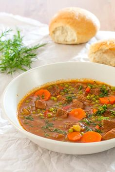 classic Romanian recipe for beef and pea stew, flavored with Herbes de Provence.A classic Romanian recipe for beef and pea stew, flavored with Herbes de Provence. Clean Eating Diet, Clean Eating Recipes, Cooking Recipes, Healthy Recipes, What's Cooking, Chili Recipes, Pork Recipes, Sicilian Recipes, Greek Recipes