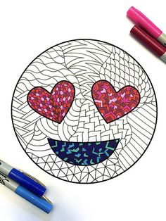 Love Emoji  PDF Zentangle Coloring Page