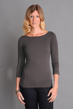 SALE - Three Dots Fitted British Boatneck Tee with Sleeves Tanks, Tank Tops, Three Dots, Every Woman, Eileen Fisher, Boat Neck, Tee Shirts, British, Fitness
