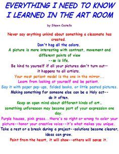 Everything I need to know I learned in the art room
