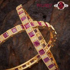 Auspicious ruby stone bangles will make your style up #GoldJewelleryBangles #GoldJewelleryHouse