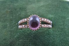 9ct Rose Gold Victorian Ring With A Cabochon Garnet And Seed Pearls   Antique Jewellery   Amanda Appleby