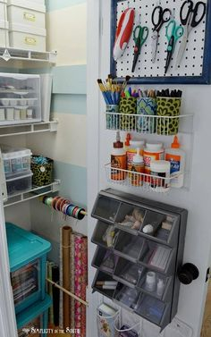 8 Craft Closet Organization Tips: Small Home Big Ideas - Craft closet organization ideas Wrapping paper, ribbon, back of the door storage baskets and bins, pegboard for scissors. Love the small swatch of pegboard instead of a large piece. Organisation Hacks, Craft Closet Organization, Craft Room Storage, Door Storage, Organizing Ideas, Closet Storage, Storage Baskets, Storage Ideas, Paper Storage