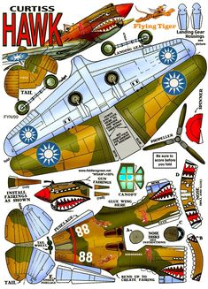 Curtiss P-40 Warhawk (Flying Tiger) : Instruction http://www.fiddlersgreen.net/models/aircraft/Curtiss-P40-Warhawk.html