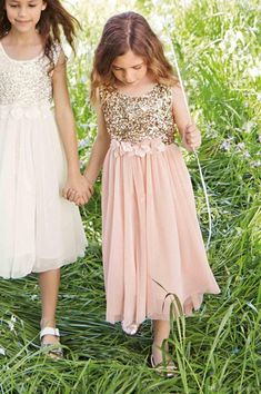 ca82eca86c Blush Flower Girls Dresses Gold Sequins Hand Made Flower Sash Tea Length  Tulle Jewel A Line Kids Formal Dress Junior Bridesmaid Dress