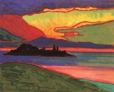 Sunset over Staffelsee 1908.  Gabrielle Münter was at the forefront of the Munich avant-garde in the early 20th C. She was a driven artist and was dedicated to the German Expressionist movement. In 1911 Münter, Kandinsky (they had a long term relationship), & Franz Marc founded the expressionist group known as Der Blaue Reiter (The Blue Rider). Within the group, artistic approaches and aims varied amongst artists; however, they shared a common desire to express spiritual truths through art.