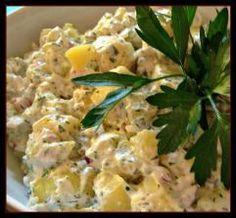 Skinny Potato Salad - This will be an outrageously popular potluck dish for any gathering. Tastes better than full-fat version. Light but seemingly decadent. Be prepared to send out the recipe.