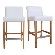 @Overstock.com - Cosmopolitan Modern White Leather Counter Stools (Set of 2) - Place these tall counter stools in your home to instantly create an inviting environment. The padded seats and wooden footrests promote comfort, and the sleek armless design is impressively modern. They're a perfect addition to any dining or lounge area.  http://www.overstock.com/Home-Garden/Cosmopolitan-Modern-White-Leather-Counter-Stools-Set-of-2/5594692/product.html?CID=214117 $299.99