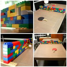 Build a lego wall like these resourceful folks and you can turn any table into a ping pong table.