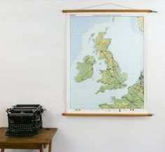 Vintage Pull Down Map