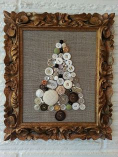 Cyber Monday...whole shop 15% off on Dec. 2 Vintage Button Christmas Tree / Vintage Frame