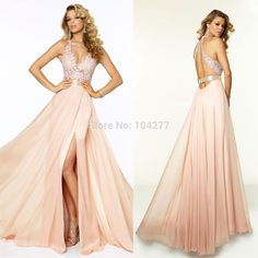 Find More Prom Dresses Information about See Through Lace Bodice Prom Dress V neck Sexy Back Less Champagne Chiffon Skirt Full Length Long Party Dress,High Quality dress diy,China dress with cut out sides Suppliers, Cheap dress sticker from Fashion Closet on Aliexpress.com