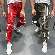 Reflective Hip Hop Joggers Sweatpants For Men – Toneway Clothing Mens Jogger Pants, Mens Sweatpants, Jogger Sweatpants, Sport Pants, Womens Joggers, Jean Joggers, Khaki Joggers, Black Joggers, Men Pants