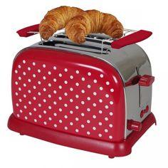 Broodrooster polkadot rood met witte stippen - 950W #polkadot #broodrooster #roodmetwittestippen