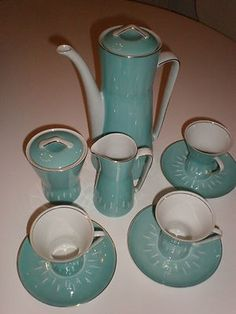 On offer is this Cmielow (Poland) retro 1950/1960s Coffee set There is a lovely tall coffee pot, milk jug, sugar pot with lid and 3 cups and saucers Great retro pattern stunning pale blue coloured gl