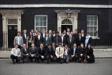 The cohort are welcomed at No.10 Downing St