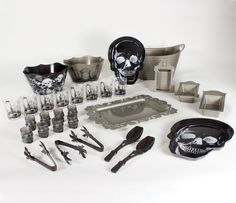 Amazon.com: Halloween 30 piece silver and black party kit featuring reusable plastic elegant gothic cocktail drink glasses, skull shot glasses, skull serving trays, tombstone bowls and serving tongs, scalloped edge bowls and serving spoons, scrolled edge platter and an extra large party bucket by Party Peacock: Toys & Games