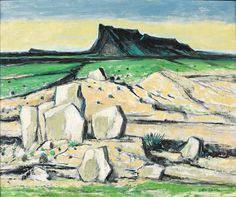 I like the strong lines and the slight graphical feel of this. Artist: Otis Dozier (1904-1987); Title: West Texas Landscape, 1984; Medium: Oil on Canvas.