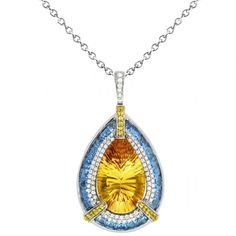 Citrine, Yellow Sapphire, Blue Topaz & Diamond Necklace - Wedding Gemstone Jewelry - Gemstone Necklaces for Women - Pear Shape - Engagement - Anniversary Gifts