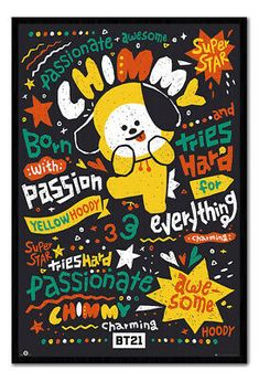 A wide range of framing options also available with the Chimmy poster. Buy online now with Free UK Delivery. All Poster, Poster Wall, Color Quotes, Line Friends, Bts Drawings, Fan Art, Bts Chibi, Cute Cartoon Wallpapers, Bts Lockscreen
