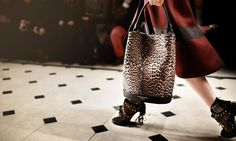 New for A/W15 from @Burberry - The Bucket Bag in animal print and The Ponytail boot #LFW