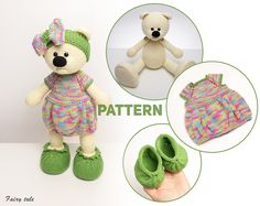 Crochet For Beginners, Crochet For Kids, Crochet Children, Knitting Dolls Clothes, Knitted Dolls, Doll Clothes, Crochet Shoes Pattern, Crochet Bear Patterns, Dress Design Patterns