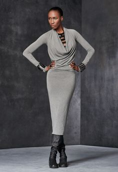 Long-Sleeve Cowl-Neck Dress – Urban Zen